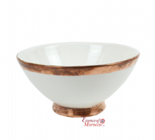 Moroccan Ceramic Bowl Antiqued White with Copper Edge Large Handmade 20 cm / 8""